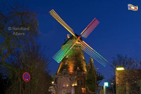 Eutiner Mühle Moder Grau, Schleswig-Holstein, Eutin, Windmühle, Moder Grau, Weihnachtsbeleuchtung
