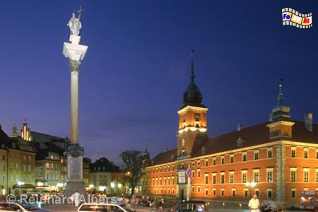 Warszawa (Warschau) - Schlossplatz mit Sigismundsäule und Königsschloss rechts im Bild., Polen, Polska, Warschau, Warszawa, Plac Zamkowy, Schloss, Sigismund-Säule