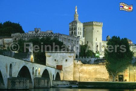 Avignon: Pont St. Bénézet und Papstpalast, Provence, Avignon, Brücke, Papstpalast, Foto, Reinhard, Albers, foreal