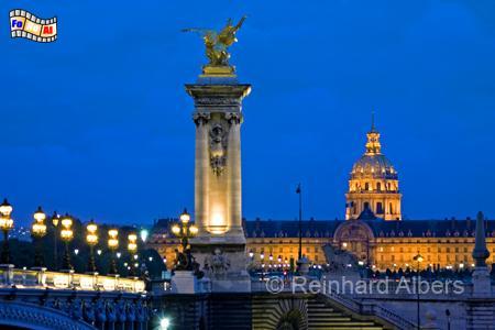 Paris - Pont Alexandre III mit Invalidendom im Hintergrund., Paris, Ivalidendom, Pont Alexandre, Albers, Foto, foreal,