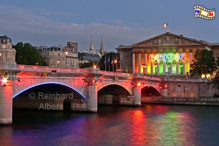 Paris - Concordebrücke mit dem Palais Bourbon, dem Sitz der frz. Nationalversammlung, Paris, Pont, Concorde, Palais, Bourbon, Seine, Albers, Foto, foreal,
