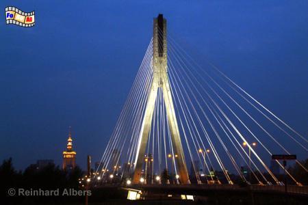Warszawa (Warschau) Die Świętokrzyski-Brücke über die Weichsel wurde 1998-2000 errichtet., Polen, Warschau, Warszawa, Weichsel, Brücke, Świętokrzyski, Albers, Foto, foreal,