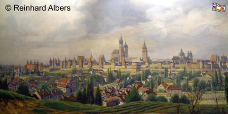 Hist. Stadtansicht von Krakau im Historischen Museum der Stadt, Polen, Polska, Krakau, Kraków, Historisches Museum