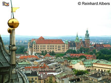 Blick vom Turm der Marienkirche auf den Wawelhügel mit Kathedrale und Schloss., Polen, Polska, Krakau, Kraków, Fotos, Bilder, Wawel, Kathedrale,