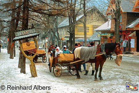 Krupówki - die Flaniermeile von Zakopane im Winter., Polen, Polska, Bilder, Fotos, Zakopane, Hohe Tatra, Wintersport, Krupówki