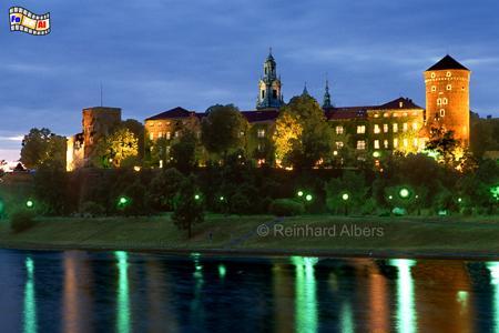 Blick auf den Krakauer Wawel-Hügel am Abend., Polen, Polska, Bilder, Fotos, Krakau, Kraków, Wawel, Weichsel