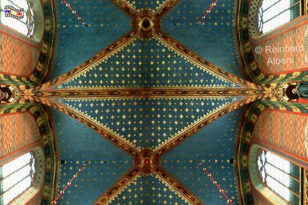 Im Gewölbe der Marienkirche funkeln die Sterne fast so als wären sie echt., Polen, Polska, Fotos, Bilder, Krakau, Kraków, Marienkirche, Kościół Mariacki