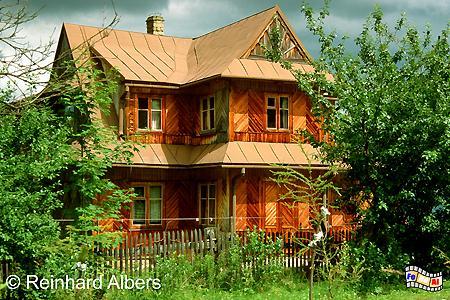 Zakopane - Beispiel für den speziellen Baustil von Holzhäusern in dieser Region., Polen, Polska, Bilder, Fotos, Zakopane, Holzhäuser, Zakopane-Stil, Architektur