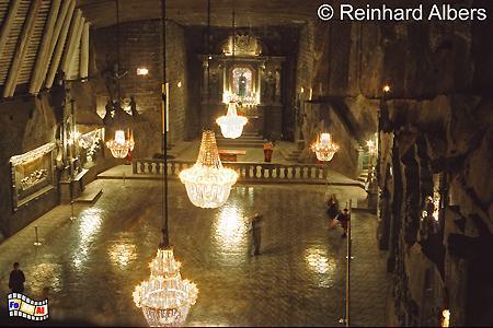 Die Kapelle der Heiligen Kinga im Salzbergwerk von Wieliczka befindet sich 101 m unter der Erde., Polen, Polska, Bilder, Fotos, Wieliczka, Salzbergwerk, Kopalnia Soli, Kapelle, Kinga