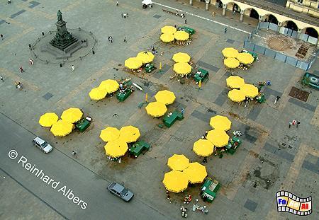 Hauptmarkt (Rynek Główny). Unter den gelben Sonnenschirmen werden Blumen verkauft., Polen, Polska, Krakau, Kraków, Fotos, Bilder, Rynek, Główny, Blumen, Blumenmarkt