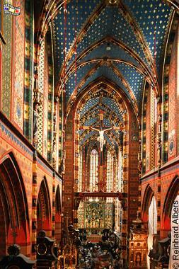 Kirchenschiff der Marienkirche, Polen, Polska, Fotos. Bilder, Krakau, Kraków, Marienkirche, Kirchenschiff