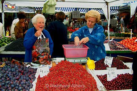 Obststand - Wochenmarkt auf dem Rynek Kleparski., Polen, Polska, Krakau, Kraków, Rynek, Kleparski, Wochenmarkt, Markt