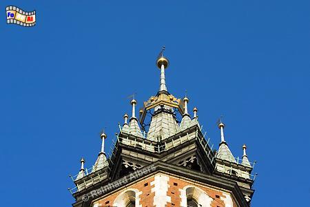 Turm der Marienkirche am Rynek Główny  (Hauptmarkt). , Polen, Polska, Krakau, Kraków, Fotos, Bilder, Marienkirche, Turm