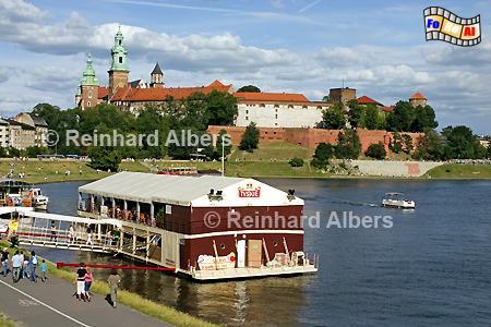 Blick auf den Wawel am Ufer der Weichsel., Polen, Polska, Fotos, Bilder, Krakau, Kraków, Wawel, Weichsel, Wisła