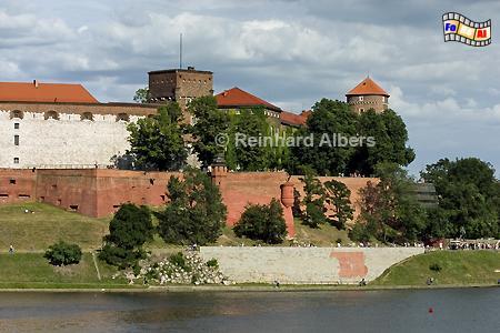 Blick über die Weichsel auf den Wawel., Polen, Polska, Fotos, Bilder, Krakau, Kraków, Wawel, Weichsel, Wisła