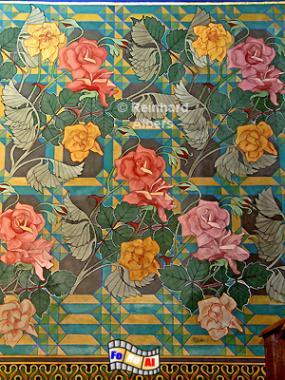 Franziskanerkirche - Wandgemälde mit Blumen von Stanisław Wyspiański., Polen, Polska, Krakau, Kraków, Bilder, Fotos, Franziskanerkirche, Stanisław, Wyspiański. Jugendstil