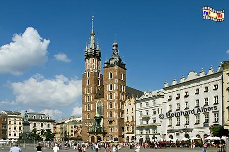 Marienkirche am Hauptmarkt (Rynek Głowny)., Polen, Polska, Krakau, Kraków, Bilder, Fotos, Marienkirche, Rynek, Główny, Kościol Mariacki