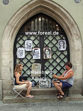 Porträtmaler in der Fußgängerzone., Polen, Polska, Krakau, Kraków, Fotos, Bilder, Porträtmaler, Fußgängerzone