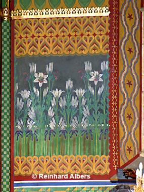 Franziskanerkirche - Wandgemälde mit Blumen von Stanisław Wyspiański., Polen, Polska, Krakau, Kraków, Bilder, Fotos, Franziskanerkirche, Stanisław, Wyspiański. Jugenstil,