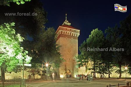 Florianstor, das einzige erhaltene von ehemals 8 Stadttoren., Polen, Polska, Krakau, Kraków, Fotos, Bilder, Florianstor, Stadtbefestigung