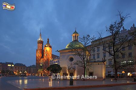 Marien- und Adalbertkirche auf dem Hauptmarkt, Polen, Polska, Krakau, Kraków, Bilder, Fotos, Marienkirche, Hauptmarkt, Rynek, Główny