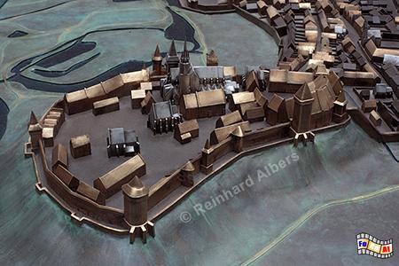Modell des mittelalterlichen Wawel., Polen, Polska, Krakau, Kraków, Unterirdisches Museum, Albers, Foto, foreal,