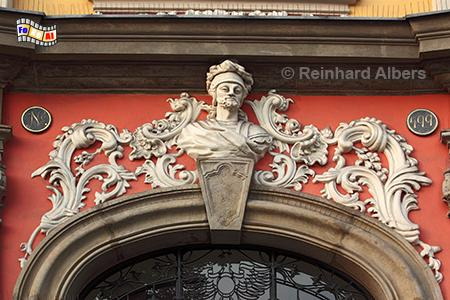 Fassadendetail an einem Gebäude am Rynek Główny (Hauptmarkt), Polen, Polska, Krakau, Kraków, Fotos, Bilder, Fassade, Rynek, Główny, foreal, Albers,