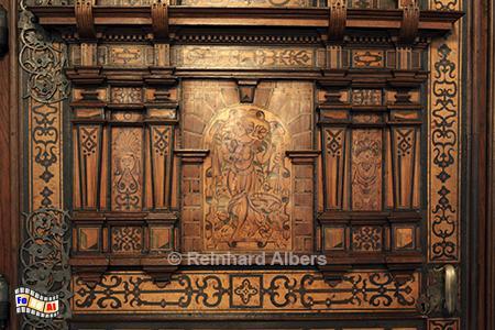 Tür in der Aula des Collegium Maius., Polen, Polska, Krakau, Kraków, Universität, Collegium Maius, Jagiellonen, Albers, foreal,