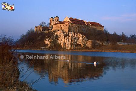 Abendstimmung beim Kloster Tyniec oberhalb der Weichsel., Polen, Polska, Krakau, Kloster, Tyniec, Albers, Foto, foreal,