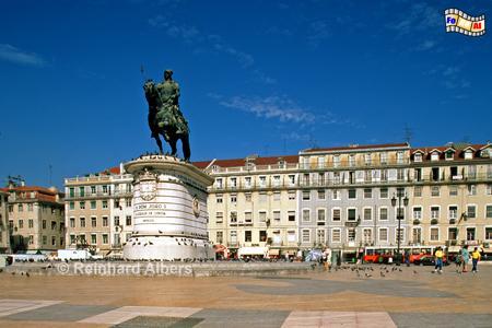 Praça da Figueira - Feigenbaumplatz mit einem Reiterstandbild für König João I., Lissabon Praça, Figueira, João, Platz