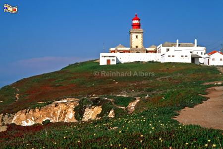 Cabo da Roca, westlich von Lissabon, ist der westlichste Punkt des europäischen Festlandes., Portugal, Leuchtturm, Klippen, Felsen, Cabo da Roca, Albers, Foto, foreal,