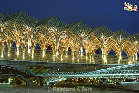 Durch die abendliche Beleuchtung kommt die futuristische Konstruktion des Bahnhofs