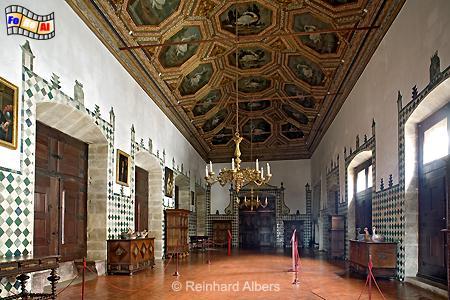Sintra - Schwanensaal im Schloss mit 27 achteckigen Schwandarstellungen., Sintra, Schloss, Paço, Real, König, Schwanensaal, Albers, foreal, Foto