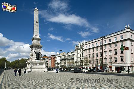 Praça dos Restauradores mit einem Obelisken zur Erinnerung an die Helden der Befreiung von span. Besatzung im Jahr 1640., Lissabon, Platz, Praça, Restauradores