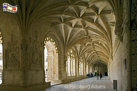Kreuzgang im Jeronimokloster., Lissabon, Belem, Kloster, Jeronimo, Kreuzgang, Maunelismus, Albers, foreal, Foto