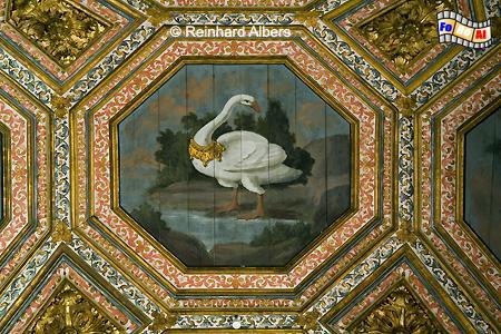 Sintra - Königsschloss (Paço Real), mit Schwänen bemalte Decke., Sintra, Schloss, Paço, Real, König, Schwanensaal, Albers, foreal, Foto