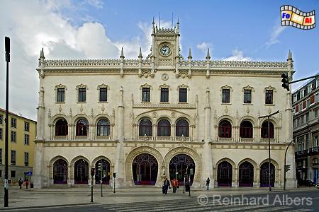 Estação Rossio - Bahnhof im neomanuelinischen Stil, 1887 nach Plänen von José Luis Monteiro errichtet., Lissabon, Bahnhof, Rossio, Estação, Albers, foreal, Foto