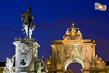 Praça do Comércio - Reiterstandbild für König José I. und Arco Triunfal im Hintergrund., Lissabon, Praça, Comércio, Platz, Albers, Foto, foreal