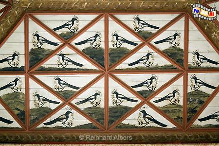 Sintra - Königsschloss (Paço Real( Ausschnitt aus der Decke im Elsternsaal, Portugal, Sintra, Schloss, Königsschloss, Albers, Foto, foreal