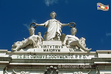 Arco Triunfal - Gloria krönt Genius und Tapferkeit., Lissabon, Arco, Monumental, Triumphbogen, Praça, Comércio