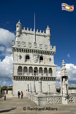 Torre de Belém, der am Ufer des Tejo gelegene Turm diente sowohl als Verteidigungsfestung als auch als Leuchtturm., Lissabon, Belem, Torre, Turm, Entdeckungen, Wahrzeichen, Albers, foreal, Foto