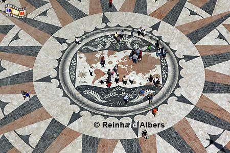 Weltkarte aus Marmor vor dem Denkmal der Entdeckungen  (Padrão dos Descobrimentos)., Lissabon, Belem, Denkmal, Entdeckungen, Padão,