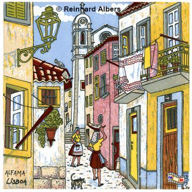 Altstadtszenerie als Kachelbild, Portugal, Lissabon, Kachelbild, Azulejos, Albers, foreal,
