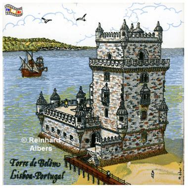 Torre de Belem als Kachelbild, Portugal, Lissabon, Kachelbild, Azulejos, Albers, foreal,