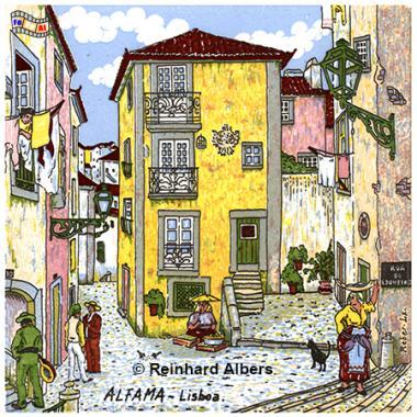 Gemalte Altstadtidylle als Kachelbild, Portugal, Lissabon, Kachelbild, Azulejos, Albers, foreal,