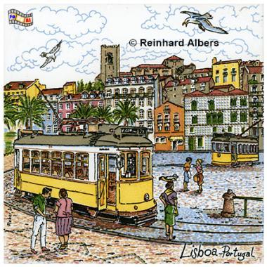 Kachelbild als Touristensouvenir, Portugal, Lissabon, Kachelbild, Azulejos, Albers, foreal,