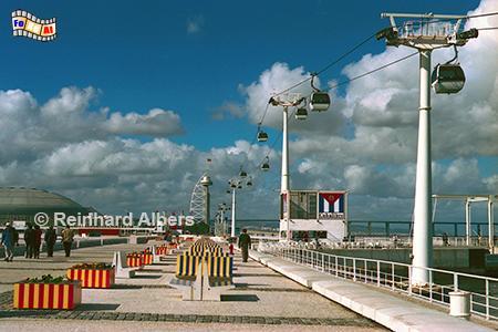 Gondel/Seilbahn auf dem Expogelände von 1998., Lissabon, Lisboa, Expo, Seilbahn, Gondelbahn, Albers, Foto, foreal,