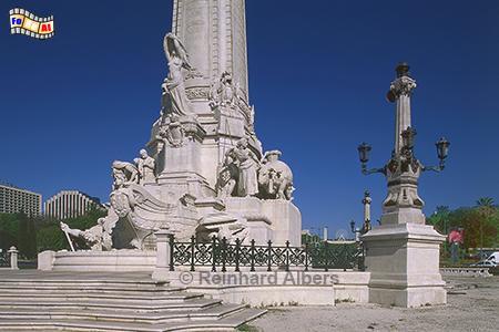 Sockel des Denkmals für Marquês de Pombal auf dem gleichnamigen Platz, Lissabon, Denkmal, Säule, Marquês, Pombal, Rotunda, Albers, Foto, foreal,