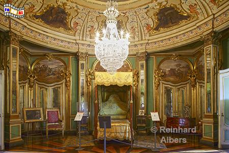 Schloss Queluz - Schlafzimmer des Königs., Lissabon, Queluz, Schloss, König, Albers, Foto, foreal,