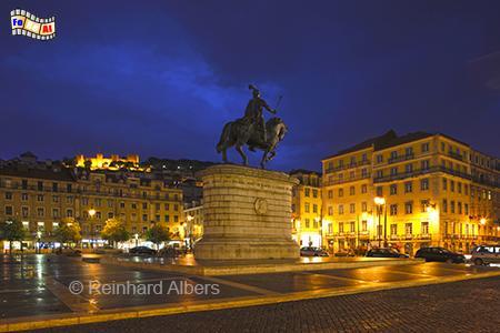 Praça da Figueira, Portugal, Lissabon, Praça da Figueira, Albers, Foto, foreal, blaue Stunde,